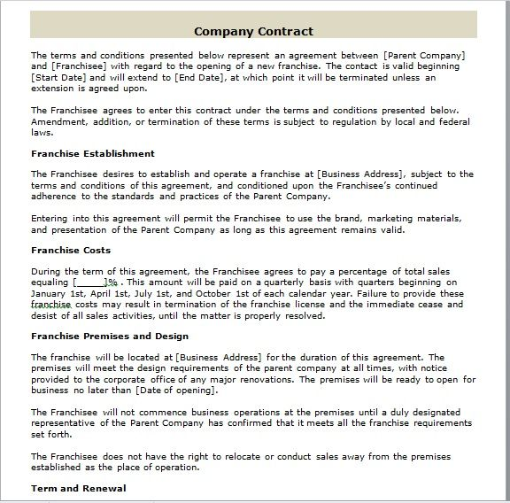 company contract template 15