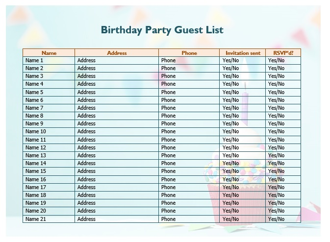 Birthday Party Guest List Template 03