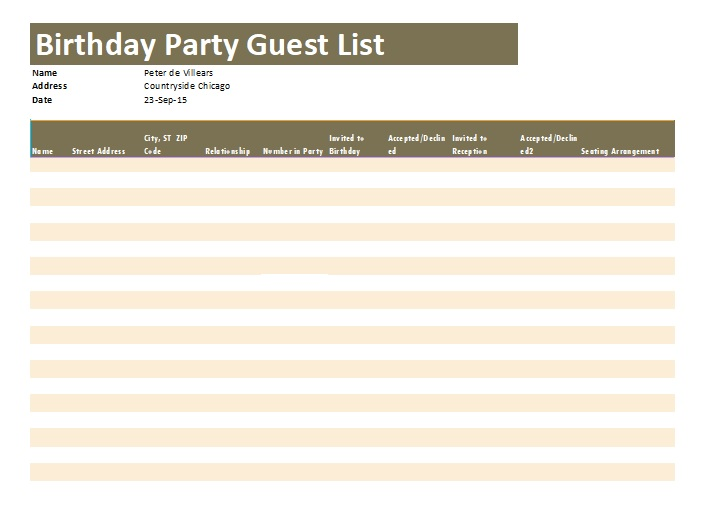 Birthday Party Guest List Template 11