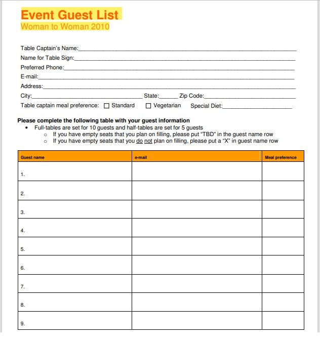 Birthday party guest list template 08