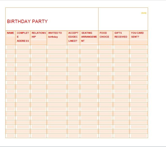 Birthday party guest list template 13