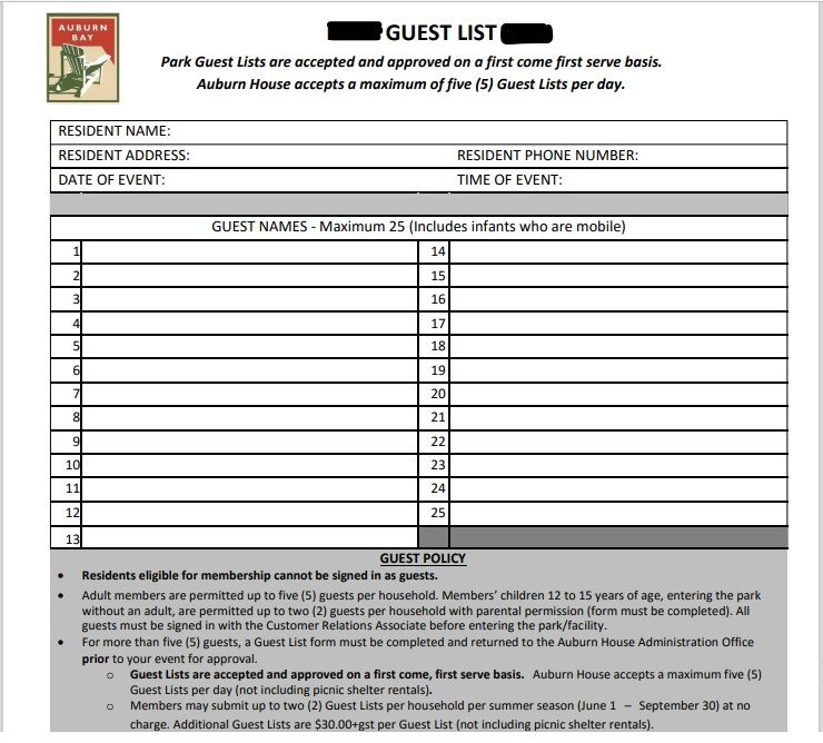 Birthday party guest list template 15