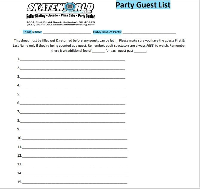 Birthday party guest list template 16