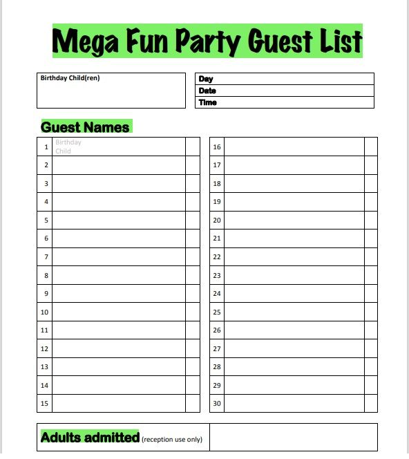 Birthday party guest list template 17