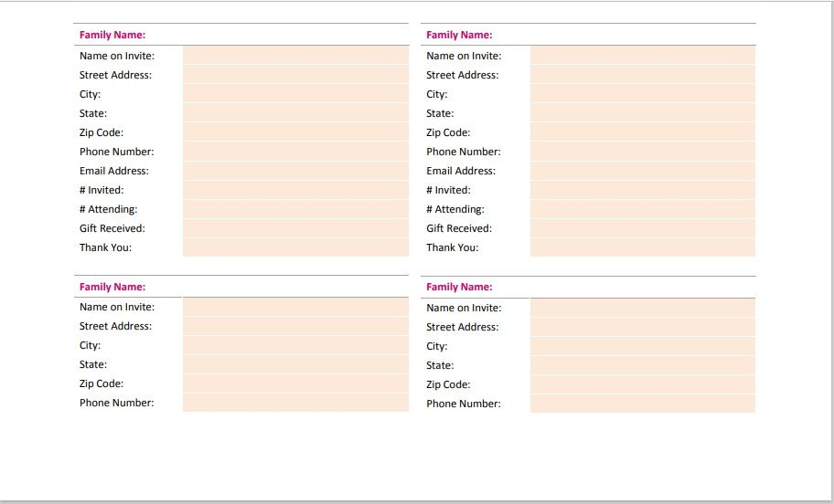 Birthday party guest list template 19