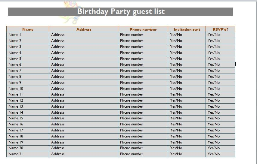 Birthday party guest list template 21