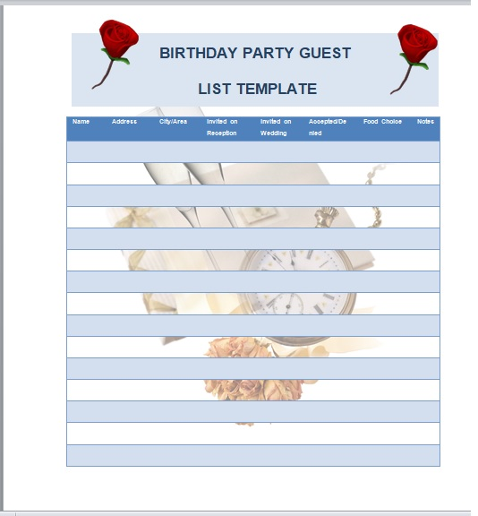 Birthday party guest list template 23
