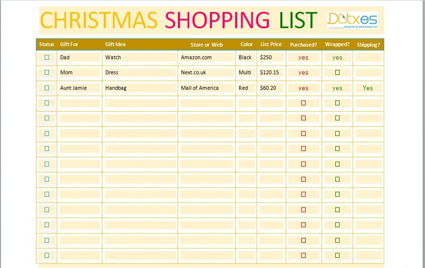 Christmas gift list template 07