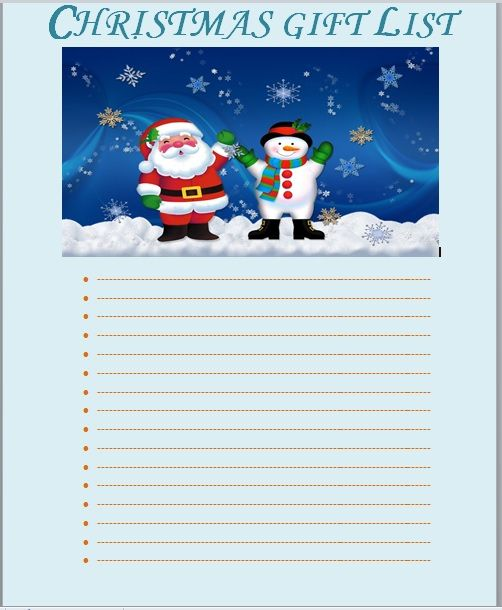 Christmas gift list template 10