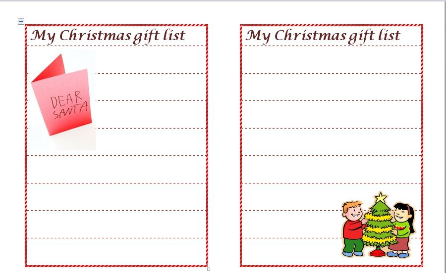 Christmas gift list template 11