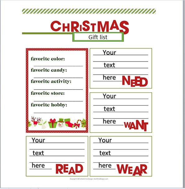 Christmas gift list template 15