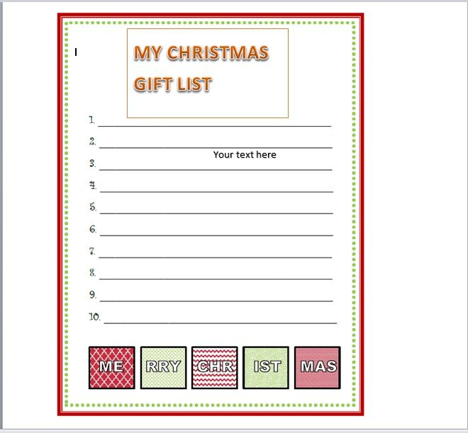 Christmas gift list template 17