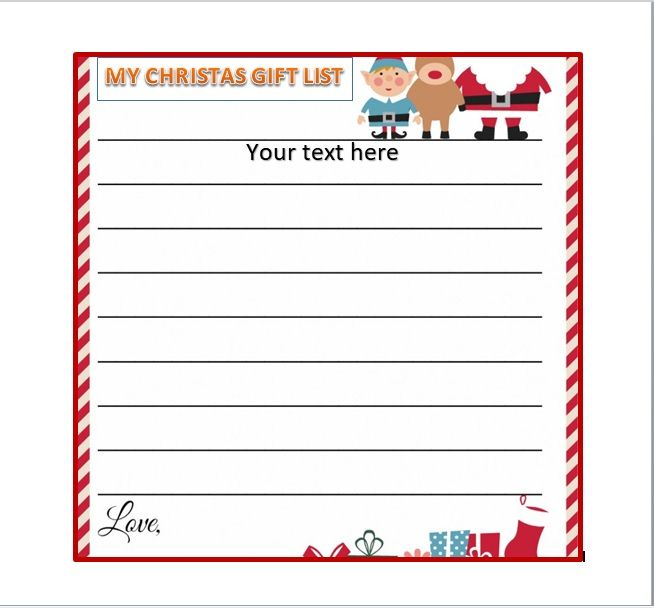 Christmas gift list template 19