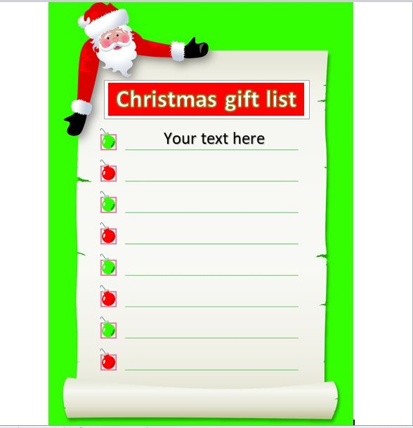 Christmas gift list template 26