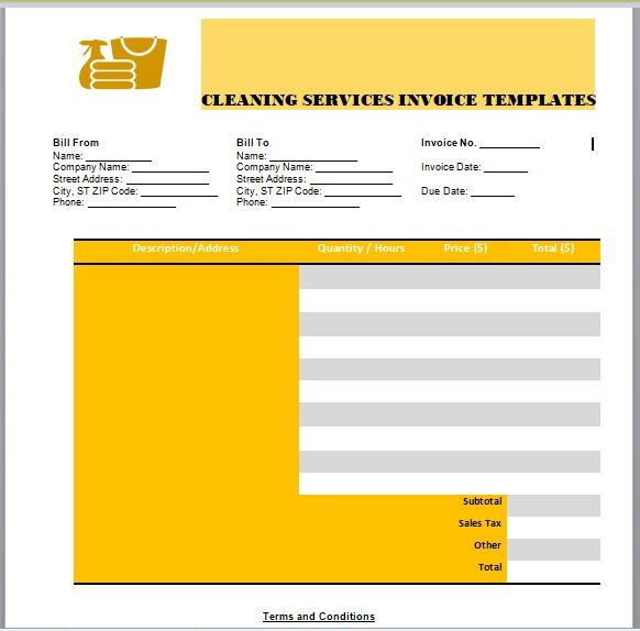 Cleaning Services Invoice Template 01