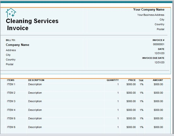 Cleaning Services Invoice Template 04