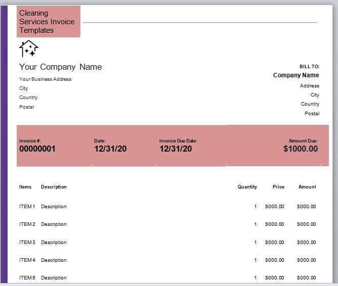 Cleaning Services Invoice Template 07