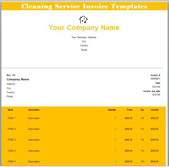 Cleaning Services Invoice Template 08