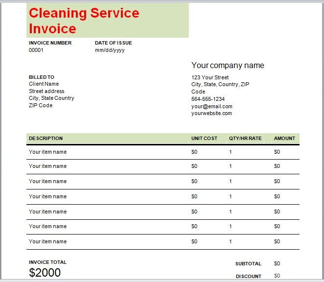 Cleaning Services Invoice Template 11