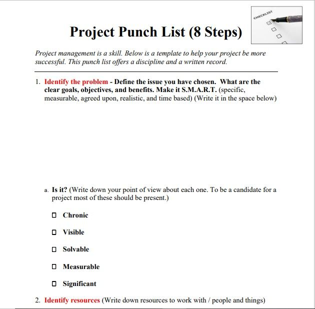 Construction Punch List Template 02