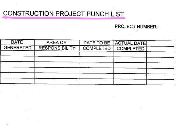 Construction Punch List Template 03