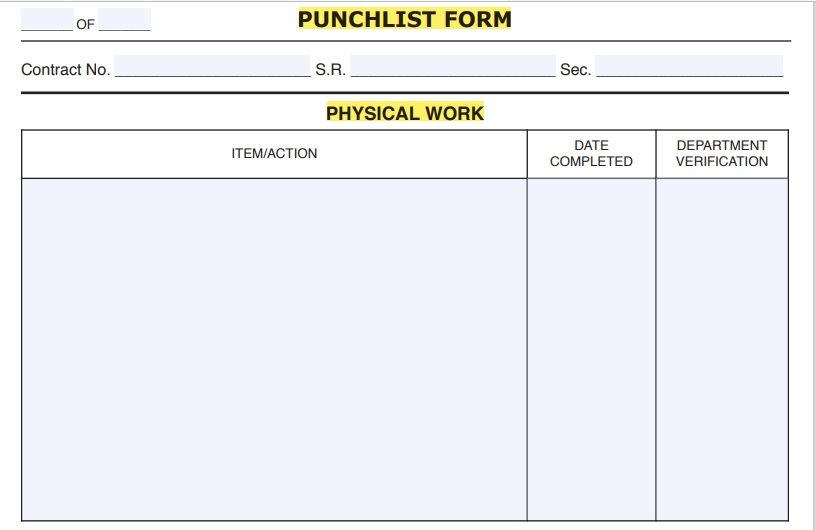 Construction Punch List Template 10