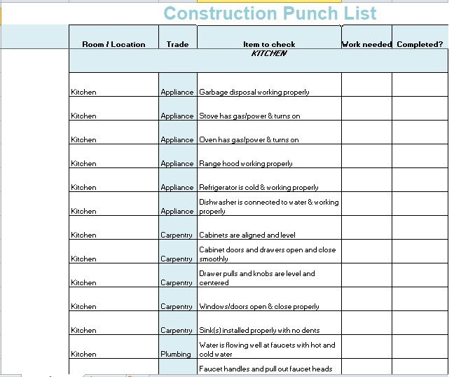 Construction Punch List Template 12