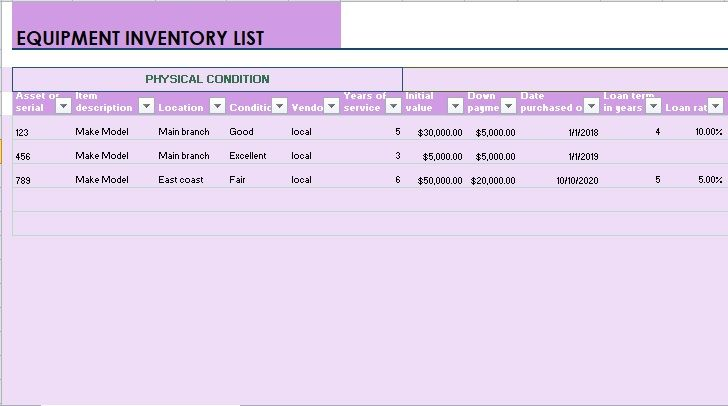 Equipment Inventory List Template 05