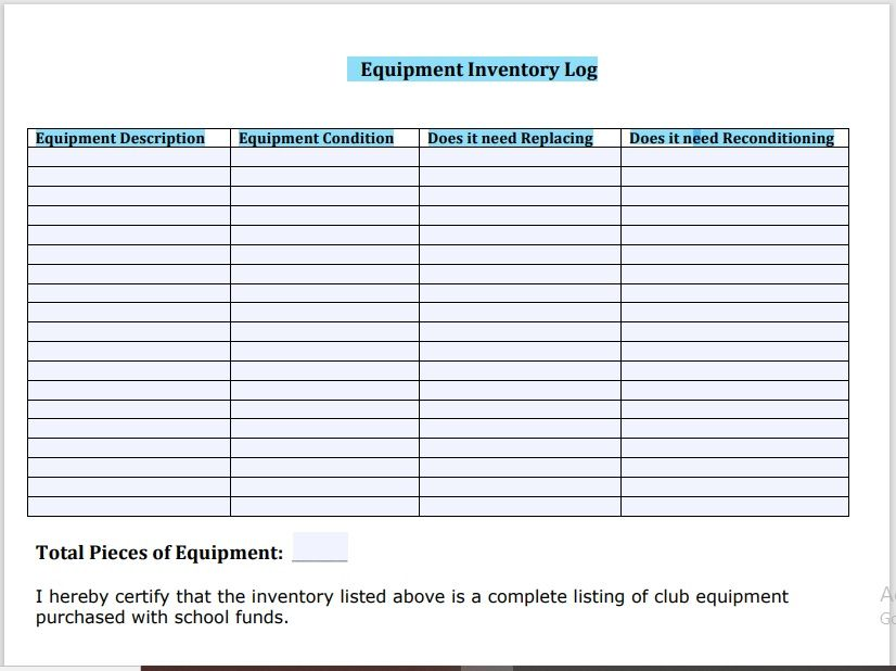 Equipment Inventory List Template 06