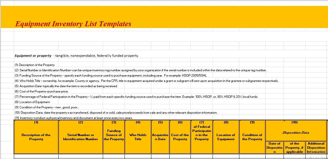 Equipment Inventory List Template 07