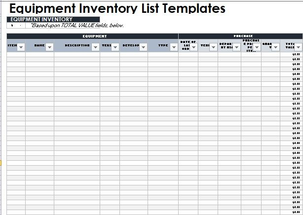 Equipment Inventory List Template 14