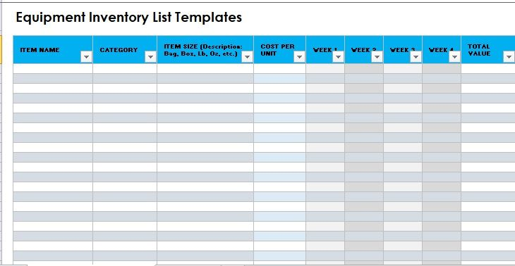 Equipment Inventory List Template 16