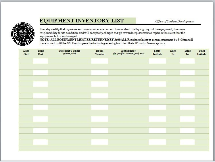 Equipment Inventory List Template 21