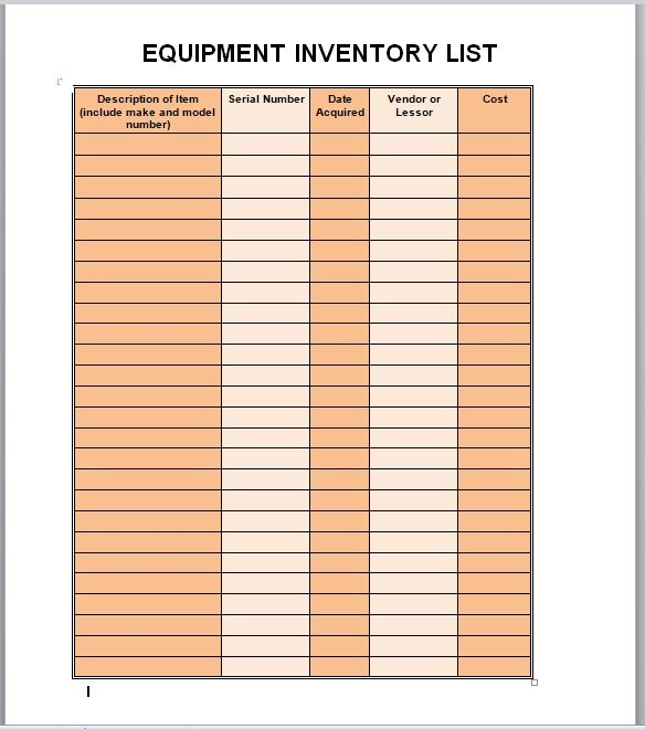 Equipment Inventory List Template 22