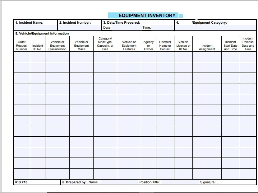 Equipment Inventory List Template 24