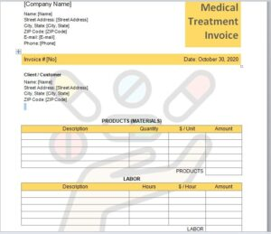 Medical Treatment Invoice Template 05