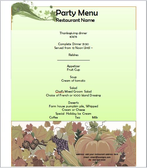 Party Menu Templates 01