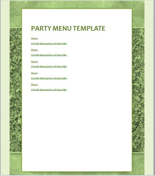 Party Menu Templates 05