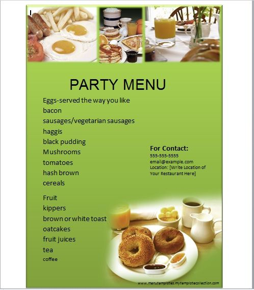 Party Menu Templates 09