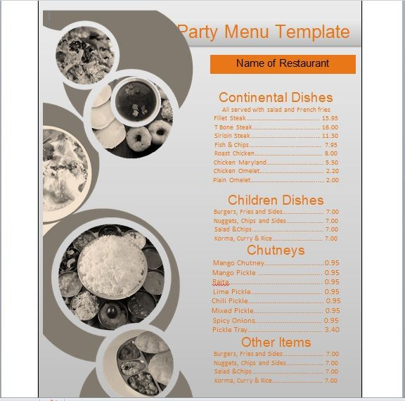 Party Menu Templates 15