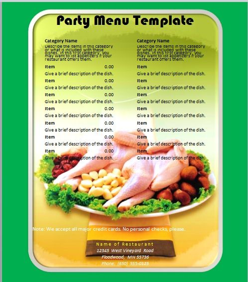 Party Menu Templates 18