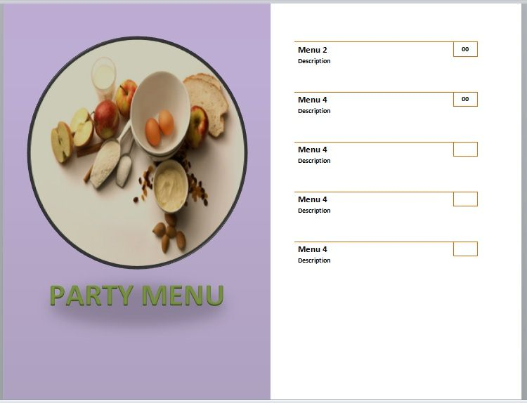Party Menu Templates 21