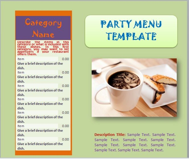Party Menu Templates 22