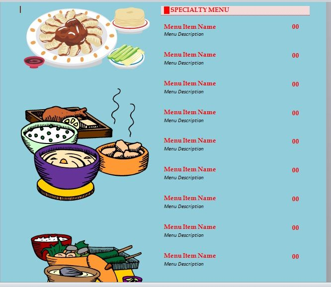 Party Menu Templates 24