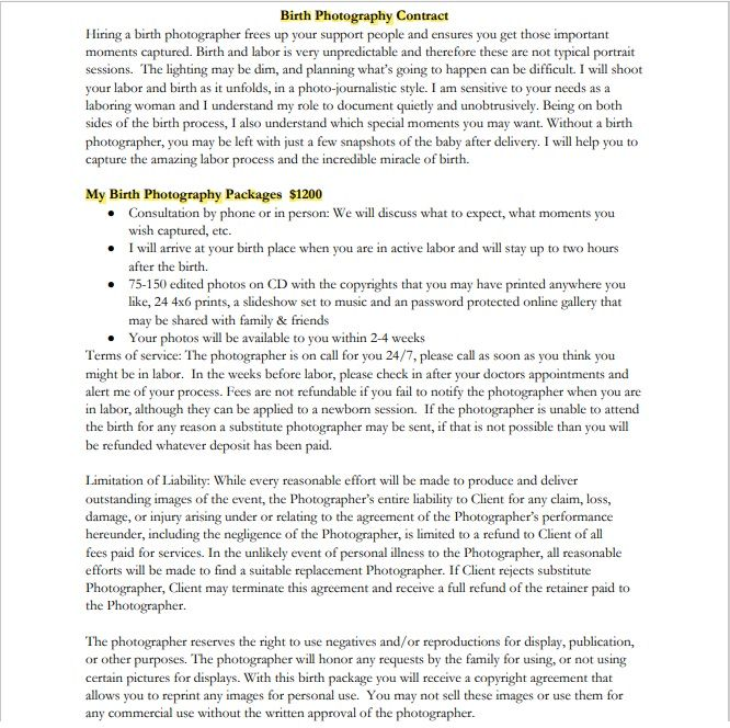 Photography Contract Template 02