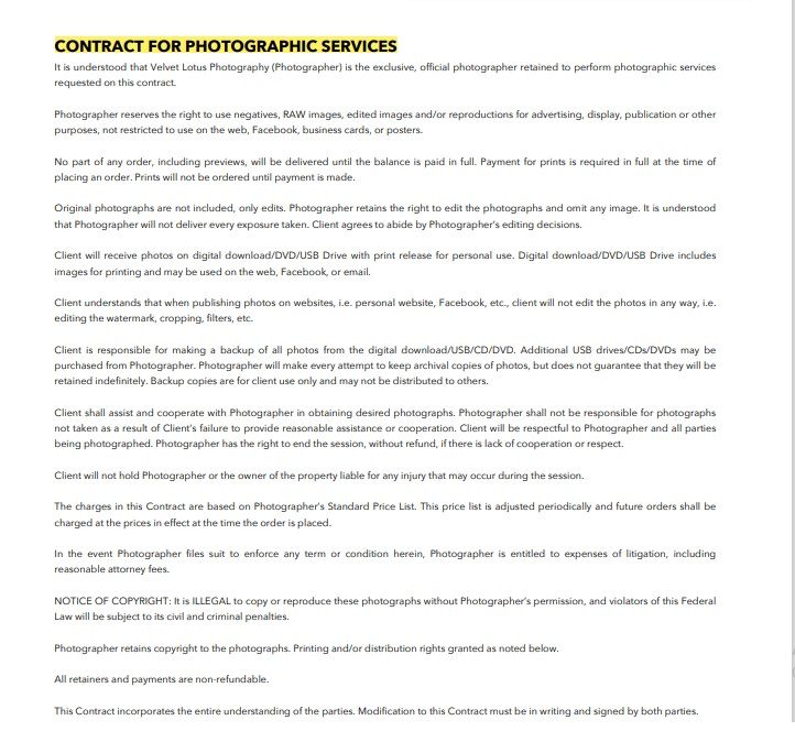 Photography Contract Template 05