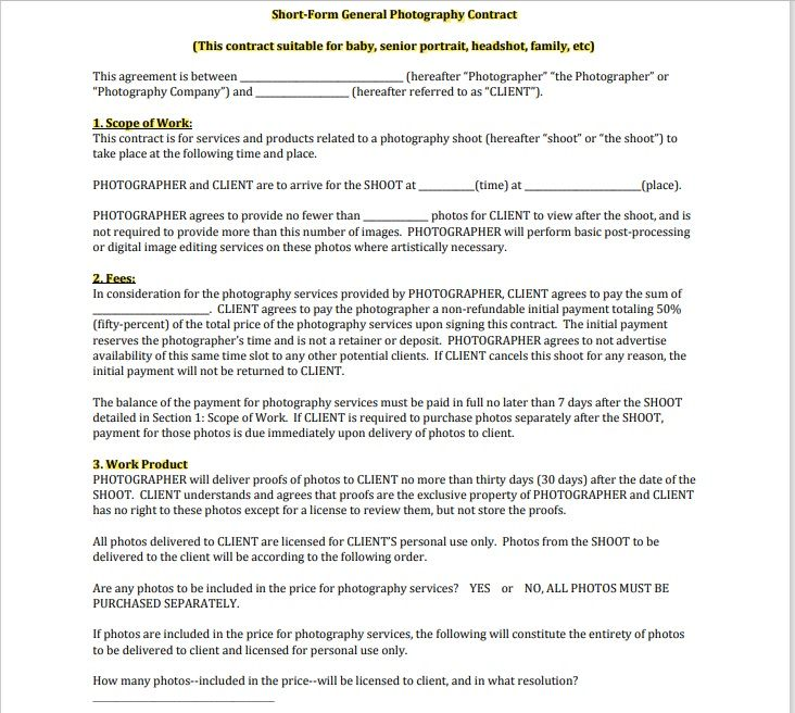 Photography Contract Template 06