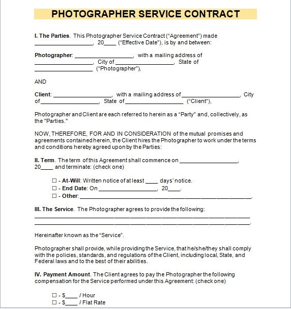 Photography Contract Template 07