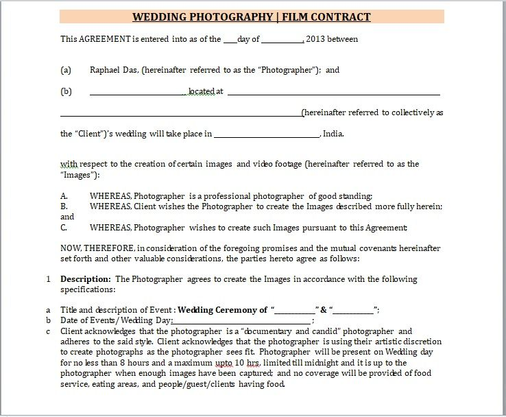 Photography Contract Template 11