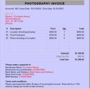 Photography invoice template 17
